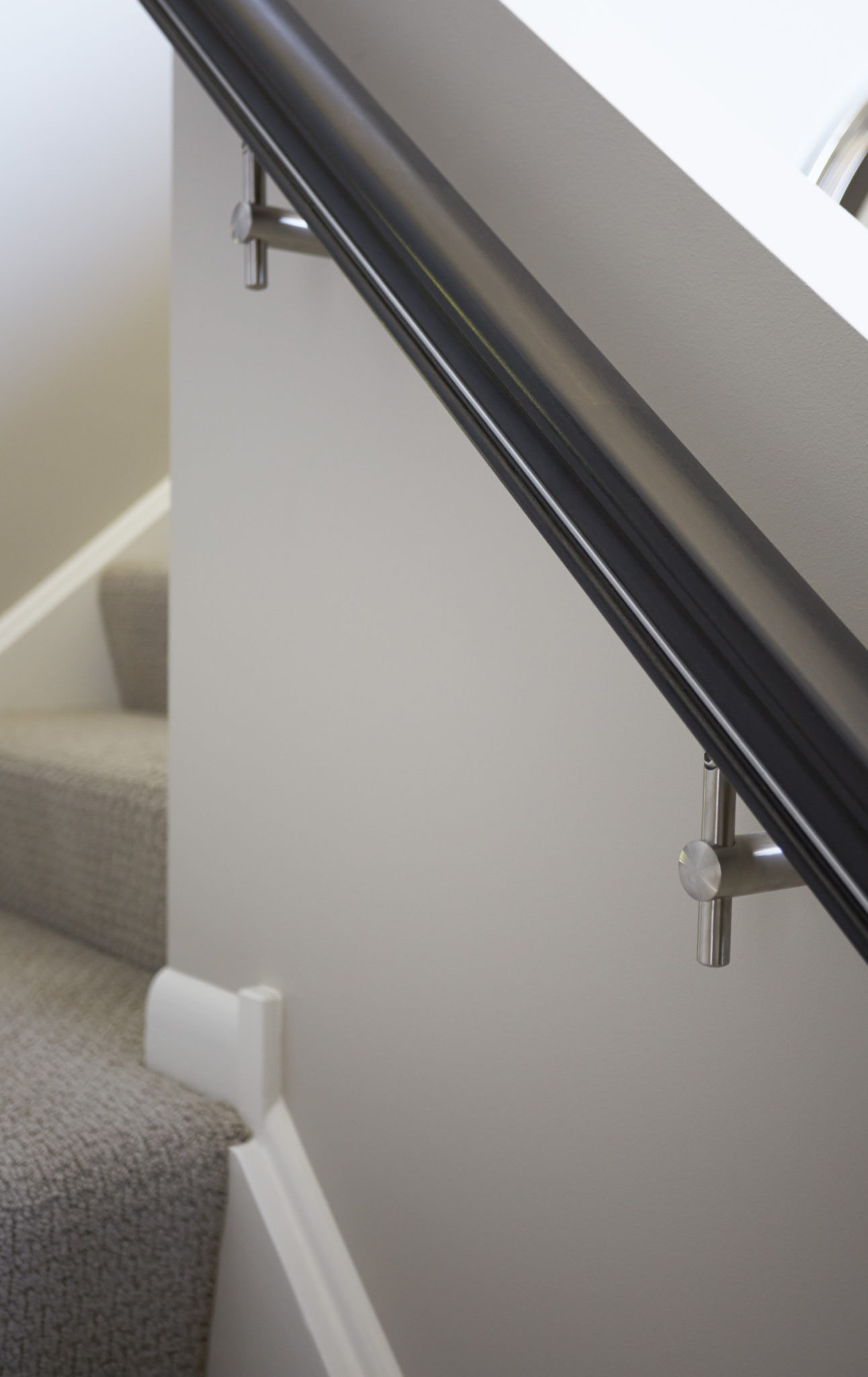 black and stainless handrail