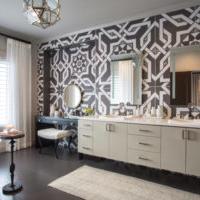 geometric shape tile in master bathroom