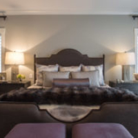 Gray and purple master bedroom suite
